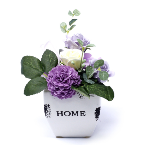 Soft Lavender Soap Bouquet Petite Flower Pot
